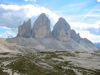Tre Cime di Lavaredo mountain range in the Dolomites
