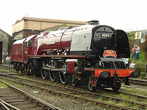 LMS Princess Coronation Class 6229 Duchess of Hamilton - As No. 46229, Duchess of Hamilton in semi-streamlined condition at Tyseley Locomotive Works, 6 May 2006.