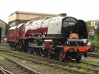 LMS Coronation Class - No. 46229, having had its cylindrical smokebox replaced by a sloping smokebox at Tyseley, 6 May 2006, prior to the addition of its streamlined casing. Because of space considerations, all the streamlined locomotives of this class needed such smokeboxes.