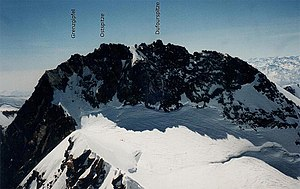 Dunantspitze - Image: Dufourspitze From Nordend And Names