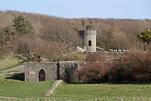 Dunraven Castle - the walled gardens and tower above the salt cellar