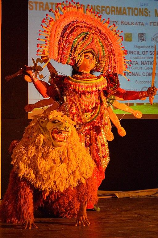 Durga with Lion - Mahisasuramardini - Chhau Dance - Royal Chhau Academy - Science City - Kolkata 2014-02-13 9127