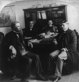 Edwin H. Conger - Conger (on left) and staff in the American legation, Beijing, circa 1901