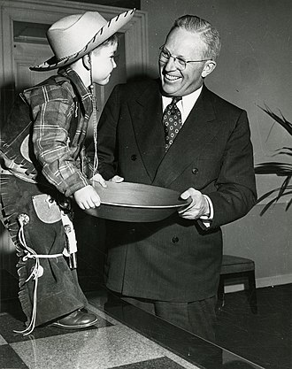 "Earl Warren - Governor Warren meets a young ""gold miner"" as part of the California centennials, 1948–50"