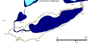 Early Lake Erie - Middle Stage of Early Lake Erie. Based on Herdendorf, 2013. Blue is full extent of the prehistoric lake with light blue for those waters of Lake Huron over the modern lake area.