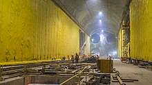 A large tunnel under construction