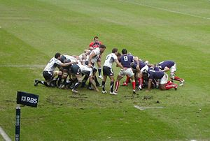 2010 Six Nations Championship - Scrum between Scotland, left, and France, right, 7 February 2010. France won the match 18–9.