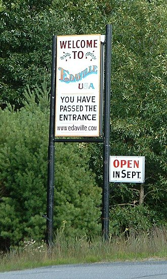 Carver, Massachusetts - A sign for Edaville Railroad along Route 58