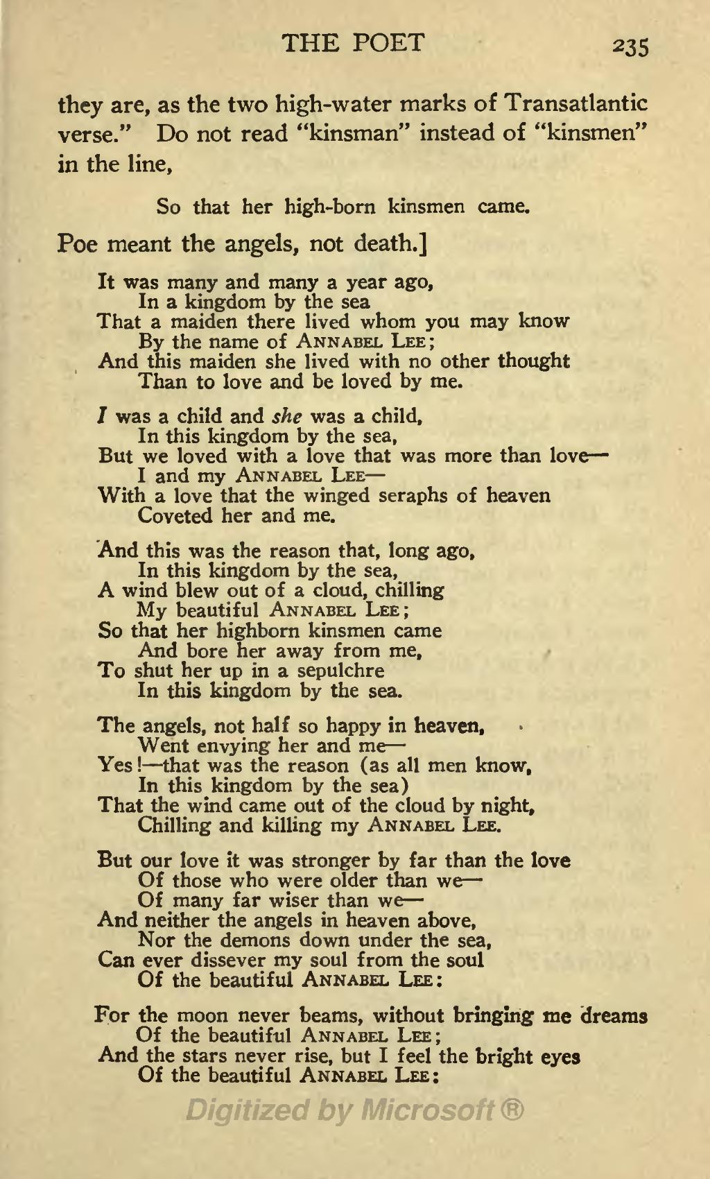 annabel lee by edgar allan poe Annabel lee is the last complete poem composed by american author edgar allan poe like many of poe's poems, it explores the.