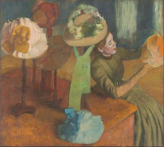 Hatmaking - The Millinery Shop by Edgar Degas