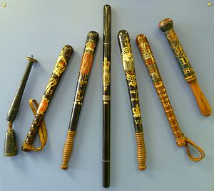 Baton (law enforcement) - Early 20th century police truncheons in the Edinburgh Police Centre Museum