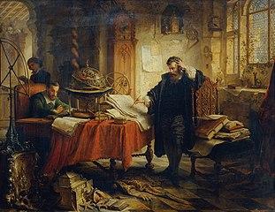 Kopernikus, die Bahnen der Gestirne aufzeichnend