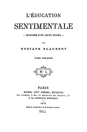 Sentimental Education - Title page from the first edition of L'Education sentimentale