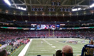 The Dome at America's Center - Interior view after 2010 renovations shown during a game