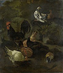 A rooster with chickens, pigeons and a marmot