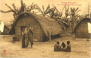 "Teke people - ""French Congo. Batéké cabins (Middle Congo)"": Colonial Postcard, c. 1905. Note the distinctive Bateke woven architecture."