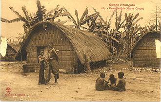 "Teke people - ""French Congo. Batéké cabins (Middle Congo)"": Colonial Postcard, c. 1905. Note the distinctive Bateke woven architecture."