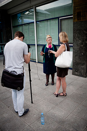 Yelena Mizulina - Yelena Mizulina talking to media on 11 July 2012 concerning the passing of the Internet Restriction Bill.