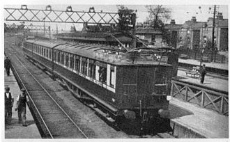 London, Brighton and South Coast Railway - An SL Class train on the South London Line at Wandsworth Road station, about 1909