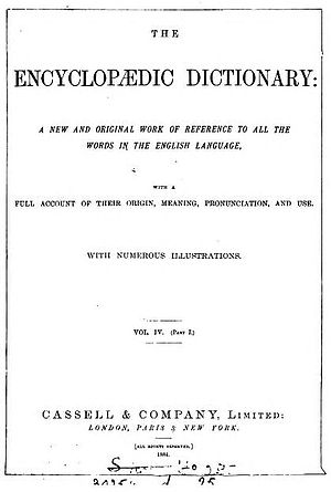 Robert Hunter (encyclopædist) - Title Page: A New and Original Work of Reference to all the Words in the English Language, with a Full Account of Their Origin, Meaning, Pronunciation, and Use. With Numerous Illustrations