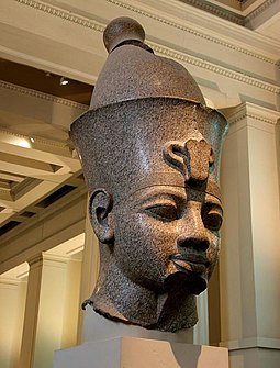 Room 4 - Colossal red granite statue of Amenhotep III, 1350 BC England; London - The British Museum, Egypt Egyptian Sculpture ~ Colossal granite head of Amenhotep III (Room 4).2.JPG