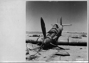 Battle of Alam el Halfa - Hawker Hurricane shot down by Italian anti-aircraft fire during the battle.