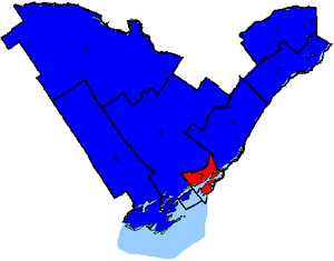 Canadian federal election results in Eastern Ontario - Map of the region's ridings. Colours show the result from the 2006 election