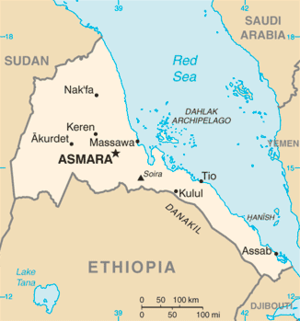 Outline of Eritrea - An enlargeable basic map of Eritrea