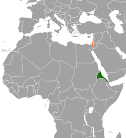 Map indicating locations of Eritrea and Israel