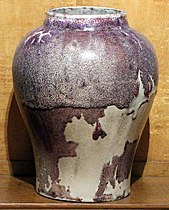Ernest chaplet, vaso in porcellana, francia 1900 ca