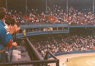 Ernie Harwell - Harwell gets a prolonged standing ovation during his last game in Detroit during the 1991 season