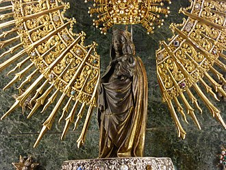 Our Lady of the Pillar - The image of Our Lady of the Pillar wearing her canonical crown