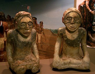 Etowah Indian Mounds - Marble effigies from the Etowah Mound C, ca. 1250–1375: kneeling woman on left, and man on right