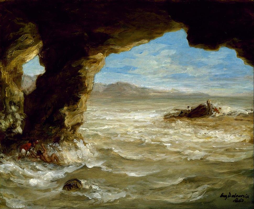 Eugène Delacroix - Shipwreck on the Coast - Google Art Project