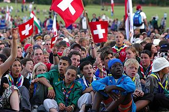 Scout (Scouting) - Scouts coming from various nations sing at the European Jamboree 2005.