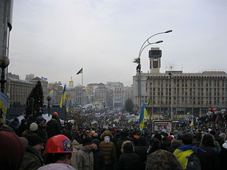 2014 Hrushevskoho Street riots - 200,000 protesters gathering in Kiev as a reaction to anti protest laws in Ukraine