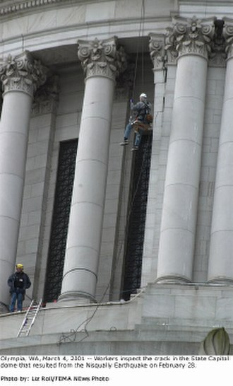 Washington State Capitol - Workers inspect the crack in the State Capitol dome that resulted from the Nisqually earthquake on February 28, 2001.
