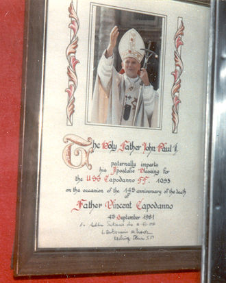 Vincent R. Capodanno - Certificate of Papal Blessing