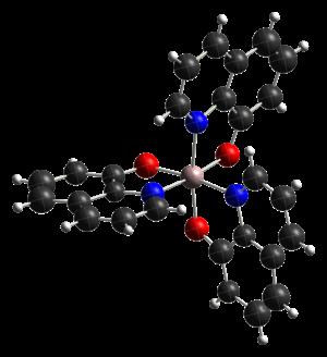 Tris(8-hydroxyquinolinato)aluminium - Image: Fac tris(8 hydroxyquinoline)alu minium(III) from xtal 2003 CM 3D ellipsoids