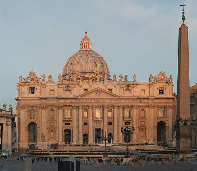 St  Peter's Basilica Wikipedia http://it.wikipedia.org/wiki/File:Facade_of_St_Peters_Basilica_in_morning_light.jpg