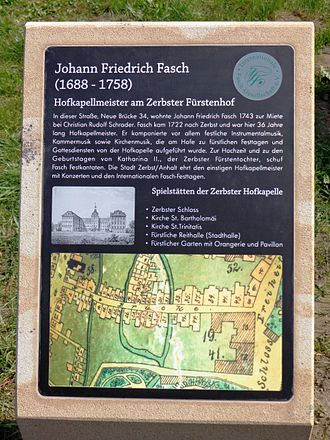 Johann Friedrich Fasch - Johann Friedrich Fasch memorial in Zerbst, Germany, unveiled in April 2013