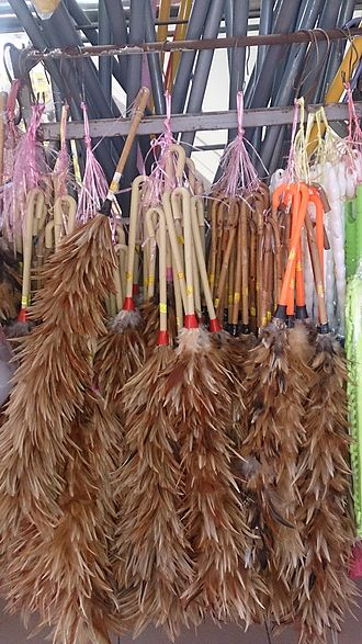 Feather duster - A common Asian feather duster made of chicken feathers attached to a bamboo stick