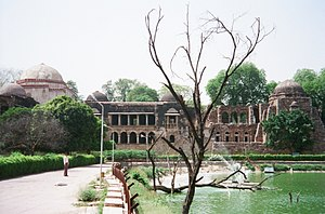 "Hauz Khas - Firuz Shah Tughlaq's tomb with adjoining Madrasa and the Hauz Khas, the ""royal tank""."