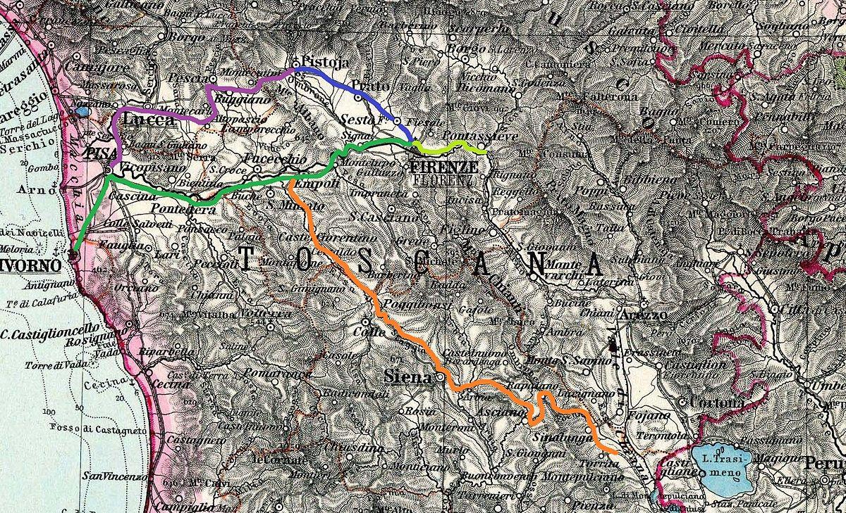 Cartina Ferroviaria Toscana.Storia Delle Ferrovie Nel Granducato Di Toscana Wikipedia