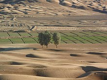 Fertile strip in desert landscape, Nushki District, Balochistan.jpg