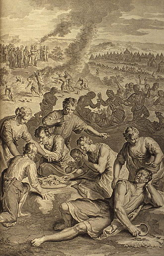 Book of Numbers - A Plague Inflicted on Israel While Eating the Quail (illustration from the 1728 Figures de la Bible)