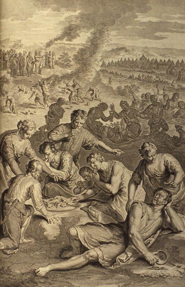 Plaie des Israélites quand ils mangèrent des cailles (illustration des Figures de la Bible)