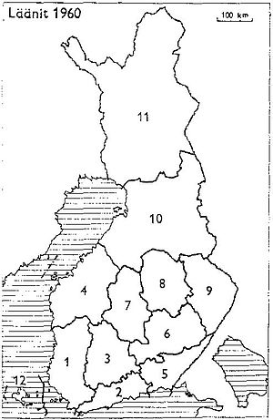 Kymi Province - Provinces of Finland 1960: 1: Turku and Pori, 2: Uusimaa, 3: Häme, 4: Vaasa, 5: Kymi, 6: Mikkeli, 7: Central Finland, 8: Kuopio, 9: Northern Karelia, 10: Oulu, 11: Lapland, 12: Åland