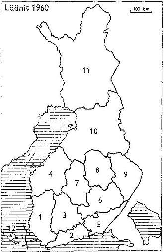 Turku and Pori Province - Provinces of Finland 1960: 1: Turku and Pori, 2: Uusimaa, 3: Häme, 4: Vaasa, 5: Kymi, 6: Mikkeli, 7: Central Finland, 8: Kuopio, 9: Northern Karelia, 10: Oulu, 11: Lapland, 12: Åland