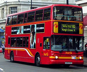 "First London - Alexander ALX400 bodied Dennis Trident 2 on route 10 at Marble Arch in October 2007 painted in the ""willow leaf"" livery introduced in 1999 and used until 2013"